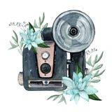 Винтажная ретро камера акварели Улучшите для логотипа фотографии Стоковое Изображение RF
