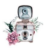 Винтажная ретро камера акварели Улучшите для логотипа фотографии Стоковое фото RF