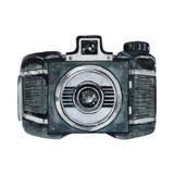 Винтажная ретро камера акварели Улучшите для логотипа фотографии Стоковое Фото
