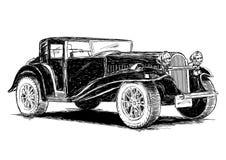 Винтажная ретро классическая старая иллюстрация вектора автомобиля Стоковое Изображение RF