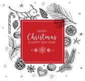 Винтажная рождественская открытка вектора Стоковые Фото
