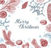 Винтажная рождественская открытка вектора Стоковое Изображение