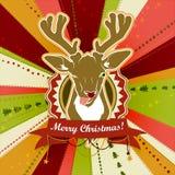 Винтажная рождественская открытка вектора при олени показывая его язык иллюстрация штока
