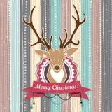 Винтажная рождественская открытка вектора с оленями. Холодные пастельные цвета иллюстрация штока