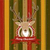 Винтажная рождественская открытка вектора с оленями иллюстрация вектора
