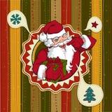 Винтажная рождественская открытка вектора с Санта Клаусом иллюстрация штока