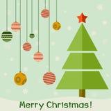 Винтажная рождественская открытка с деревом и шариками, карточкой Xmas Стоковые Фотографии RF