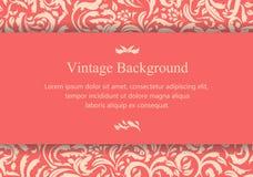 Винтажная розоватая карточка с флористическим орнаментом Стоковые Фото