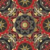 Винтажная роскошная предпосылка с черным фоном и орнаментами золота Флористическая безшовная картина в стиле барокко, ткань Стоковое фото RF