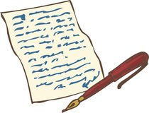 Винтажная рукописная страница с красной ручкой чернил Стоковое фото RF