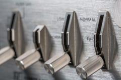 Винтажная ручка переключателя Фокус на ручке переключателя rec Стоковое Фото