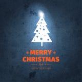 Винтажная синяя ультрамодная с Рождеством Христовым рождественская открытка и Новый Год желают приветствие Стоковые Изображения