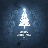 Винтажная синяя ультрамодная с Рождеством Христовым рождественская открытка и Новый Год желают приветствие Стоковая Фотография