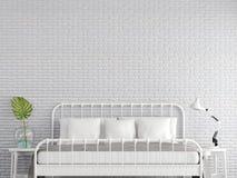 Винтажная спальня с белой кирпичной стеной 3d представляет иллюстрация штока