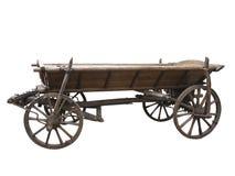 Винтажная старая грубая деревянная тележка изолированная на белизне Стоковая Фотография RF