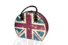 Винтажная сумка с флагом Великобритании, изолирует белую предпосылку Стоковое фото RF
