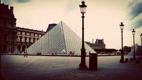 Винтажная съемка Лувра, Париж, Франция Стоковые Фотографии RF