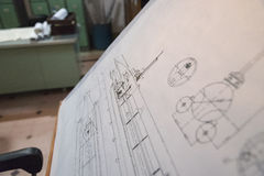 Винтажная таблица деятельности инженер-механика Стоковая Фотография RF