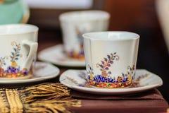 Винтажная тайская кофейная чашка фарфора стиля handmade Красивый tr Стоковое фото RF