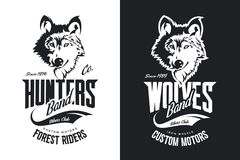 Винтажная таможня волка едет на автомобиле логотип вектора футболки клуба черно-белый иллюстрация вектора