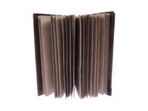 Винтажная тетрадь с деревянными крышками на белой предпосылке Стоковые Фото