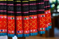 Винтажная ткань - красочный конец поверхности половика стиля Таиланда вверх по винтажной ткани сделан рук-сплетенной хлопко-бумаж Стоковые Изображения RF