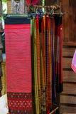 Винтажная ткань - красочный конец поверхности половика стиля Таиланда вверх по винтажной ткани сделан рук-сплетенной хлопко-бумаж Стоковые Фотографии RF