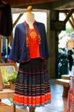 Винтажная ткань - красочный конец поверхности половика стиля Таиланда вверх по винтажной ткани сделан рук-сплетенной хлопко-бумаж Стоковая Фотография RF