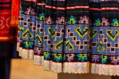 Винтажная ткань - красочный конец поверхности половика стиля Таиланда вверх по винтажной ткани сделан рук-сплетенной хлопко-бумаж Стоковое Фото