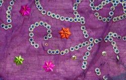 Винтажная ткань сари с приукрашиваниями Стоковые Фото