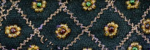 Винтажная ткань сари с приукрашиваниями Стоковая Фотография