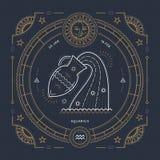 Винтажная тонкая линия ярлык знака зодиака водолея Символ ретро вектора астрологический, мистик, священный элемент геометрии, эмб иллюстрация вектора
