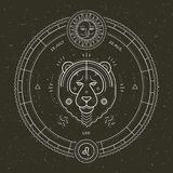 Винтажная тонкая линия ярлык знака зодиака Лео Символ ретро вектора астрологический, мистик, священный элемент геометрии, эмблема иллюстрация штока