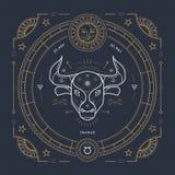 Винтажная тонкая линия ярлык знака зодиака Тавра Символ ретро вектора астрологический, мистик, священный элемент геометрии, эмбле иллюстрация вектора