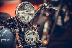 Винтажная фара и рожок мотоцикла стоковое изображение