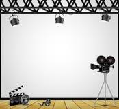 Винтажная фара театра на белой предпосылке на этапе Стоковое Фото