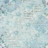 Винтажная флористическая предпосылка коллажа - флористическая предпосылка - Ephemera - ноты - затрапезный шик иллюстрация вектора