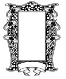Винтажная флористическая рамка черно-белая Дизайн Nouveau искусства также вектор иллюстрации притяжки corel форма Харта бесплатная иллюстрация