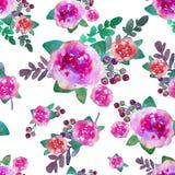 Винтажная флористическая безшовная картина с розовыми цветками и лист Печать для обоев ткани бесконечных Нарисованная вручную акв Стоковые Фотографии RF