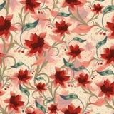 Винтажная флористическая безшовная предпосылка Стоковое Фото