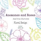 Винтажная флористическая карточка с цветками сада романтичная предпосылка также вектор иллюстрации притяжки corel Стоковая Фотография RF