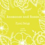 Винтажная флористическая карточка с цветками сада романтичная предпосылка также вектор иллюстрации притяжки corel Стоковые Фотографии RF