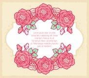 Винтажная флористическая карточка для wedding, день рождения, день ` s валентинки Стоковая Фотография RF