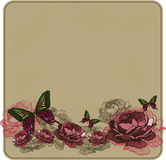 Винтажная флористическая предпосылка с розами также вектор иллюстрации притяжки corel Стоковые Изображения RF