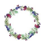 Винтажная флористическая рамка свадьбы венка с цветками и лист леса карточка 2007 приветствуя счастливое Новый Год Нарисованные в иллюстрация штока