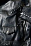 Винтажная черная кожаная куртка мотоцикла Стоковое Изображение