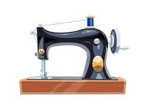 Винтажная швейная машина с голубым потоком катышкы Стоковое фото RF