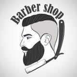 Винтажная эмблема парикмахерской, ярлык, значок, логотип Стоковая Фотография RF
