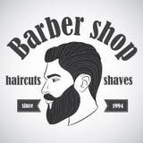 Винтажная эмблема парикмахерской, ярлык, значок, логотип Стоковое Изображение