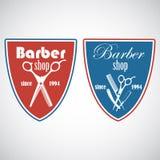 Винтажная эмблема парикмахерской, ярлык, значок, логотип Стоковое фото RF